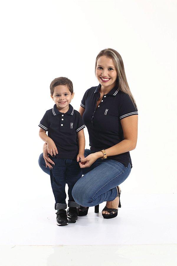MÃE E FILHO > Kit 02 peças Camisa Polo Feminina e Infantil Azul Marinho Céu [Coleção Tal Mãe Tal Filho]