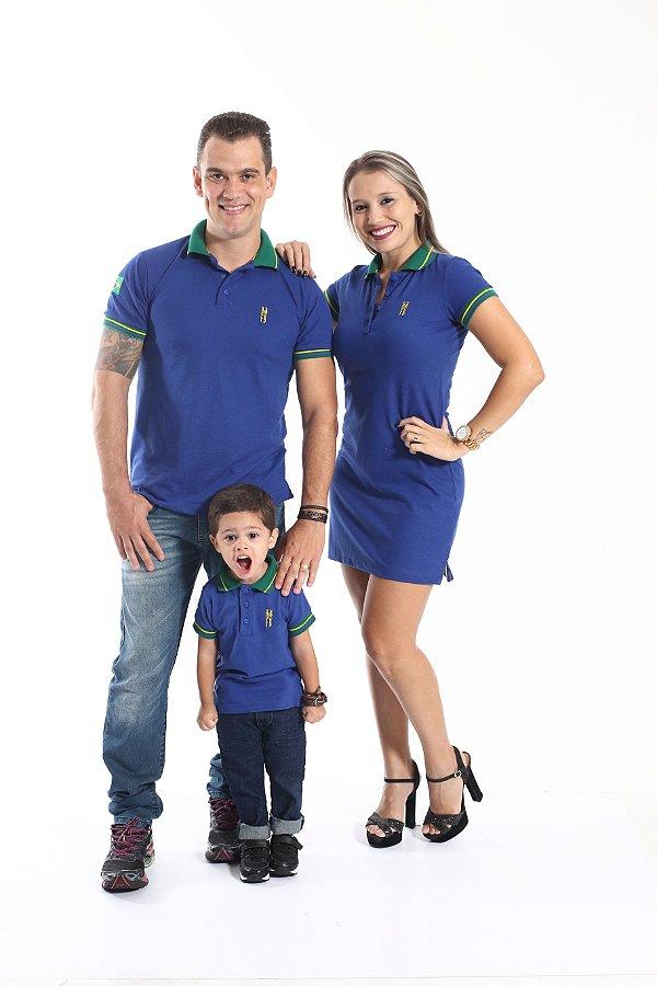 PAIS E FILHOS > Kit 3 peças Camisas e Vestido Polo Azul Copa do Mundo [Coleção Família]