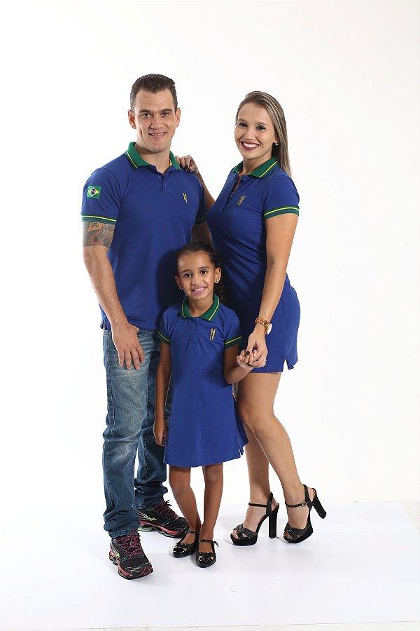 PAIS E FILHOS > Kit 3 peças Camisa e Vestidos Polo Azul Copa do Mundo [Coleção Família]