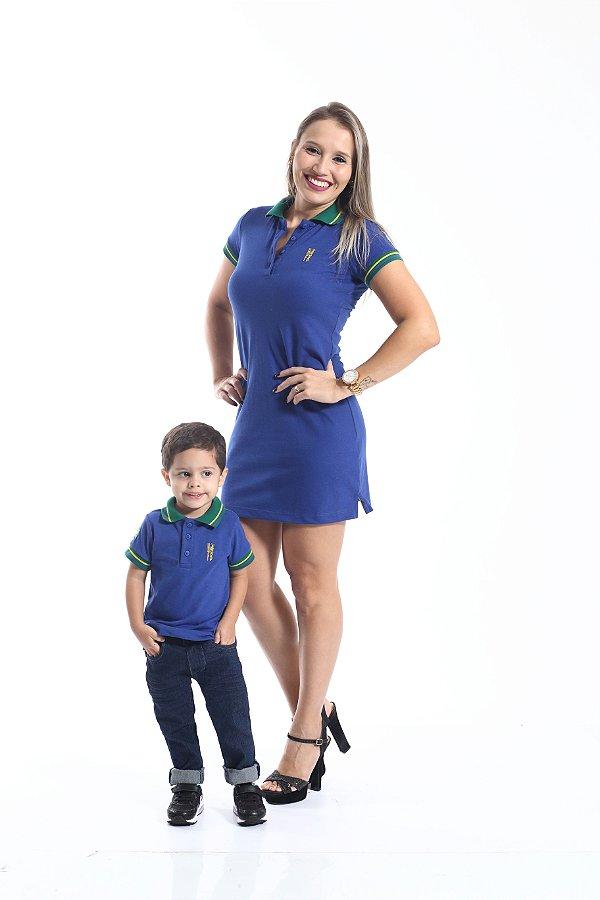 MÃE E FILHO > Kit 02 peças Vestido e Camisa Polo Azul Copa do Mundo [Coleção Tal Mãe Tal Filho]