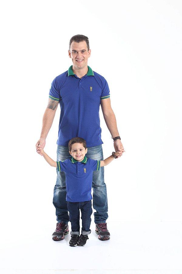 PAI E FILHO > Kit 02 Camisas Polo Azul Copa do Mundo  [Coleção Tal Pai Tal Filho]