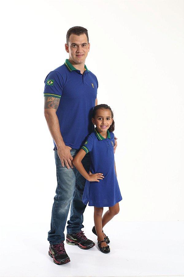 PAI E FILHA > Kit 02 Peças Camisa e Vestido Polo Azul Copa do Mundo  [Coleção Tal Pai Tal Filha]