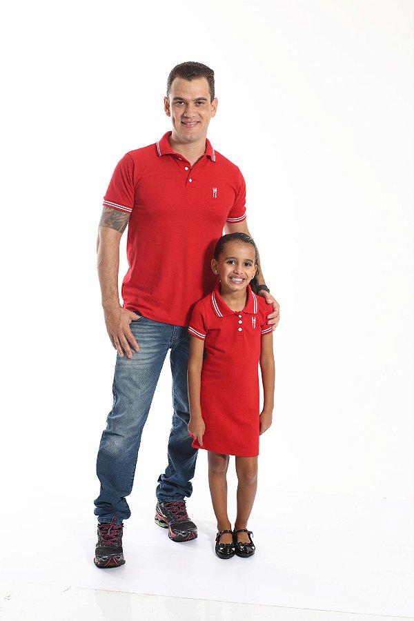 PAI E FILHA > Kit 02 Peças Camisa e Vestido Polo Vermelho Paixão  [Coleção Tal Pai Tal Filha]