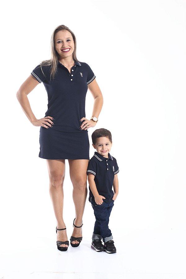 MÃE E FILHO > Kit 02 peças Vestido e Camisa Polo Azul Marinho Céu [Coleção Tal Mãe Tal Filho]