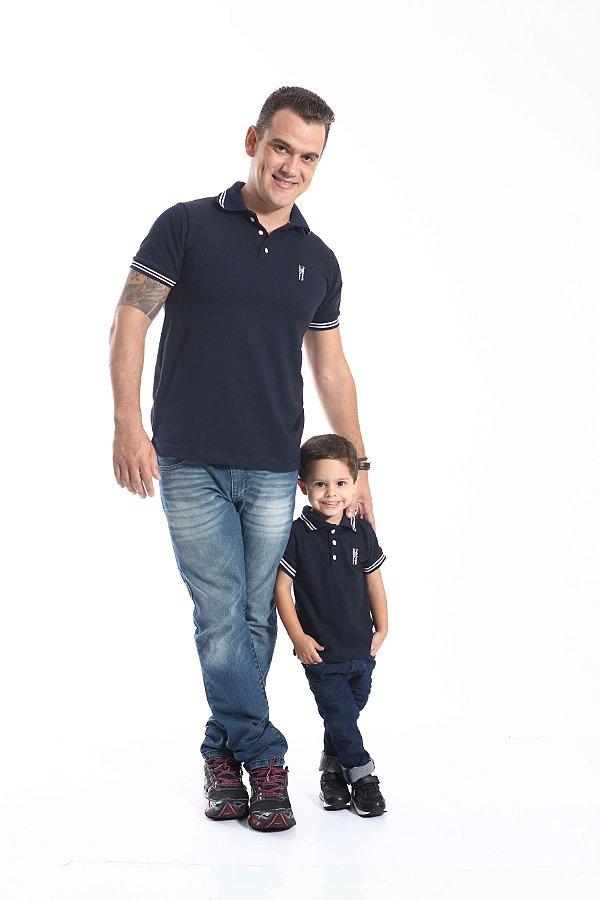 PAI E FILHO > Kit 02 Camisas Polo Azul Marinho Céu  [Coleção Tal Pai Tal Filho]