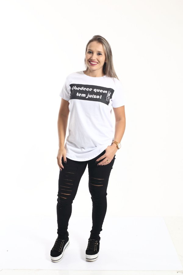 Camiseta Long Obedece quem tem Juízo Feminina