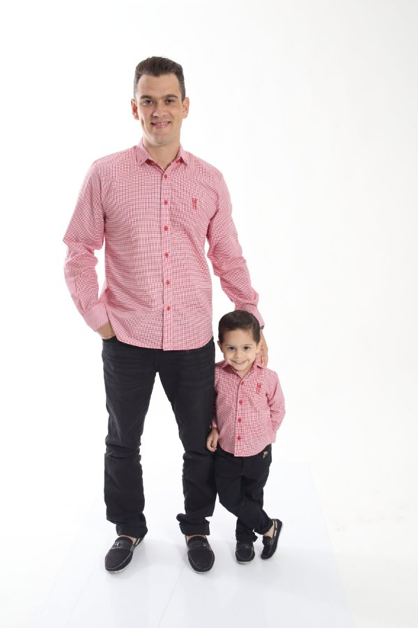 PAI E FILHO > Camisas Social Jackie Chan - Vermelha [Coleção Tal Pai Tal Filho]