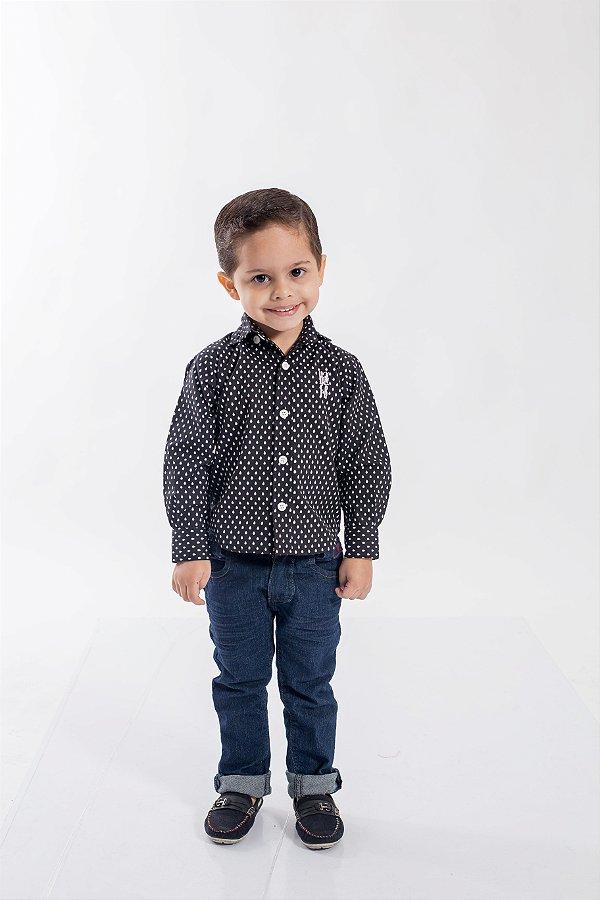 Camisa Social Preta Jet Li Infantil