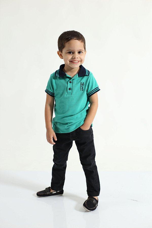 Camisa Polo ou Body Infantil Verde Jade