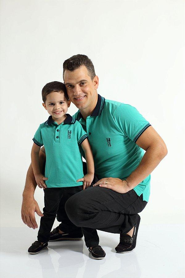 PAI E FILHO > Kit 02 Camisas ou Body Polo Verde Jade  [Coleção Tal Pai Tal Filho]