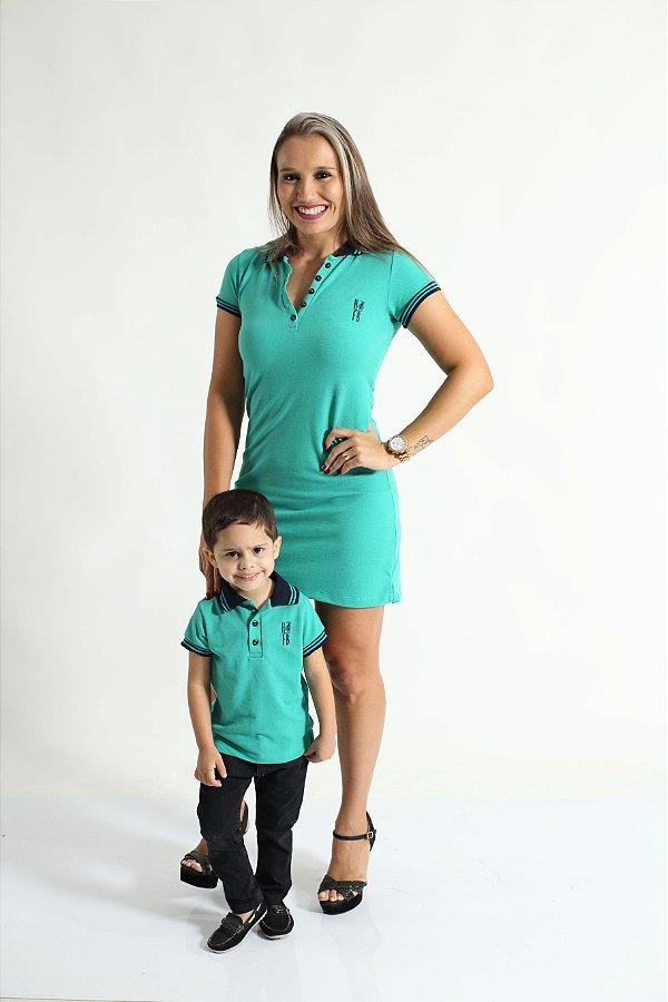 MÃE E FILHO > Kit 02 peças Vestido e Camisa ou Body Polo Verde Jade [Coleção Tal Mãe Tal Filho]
