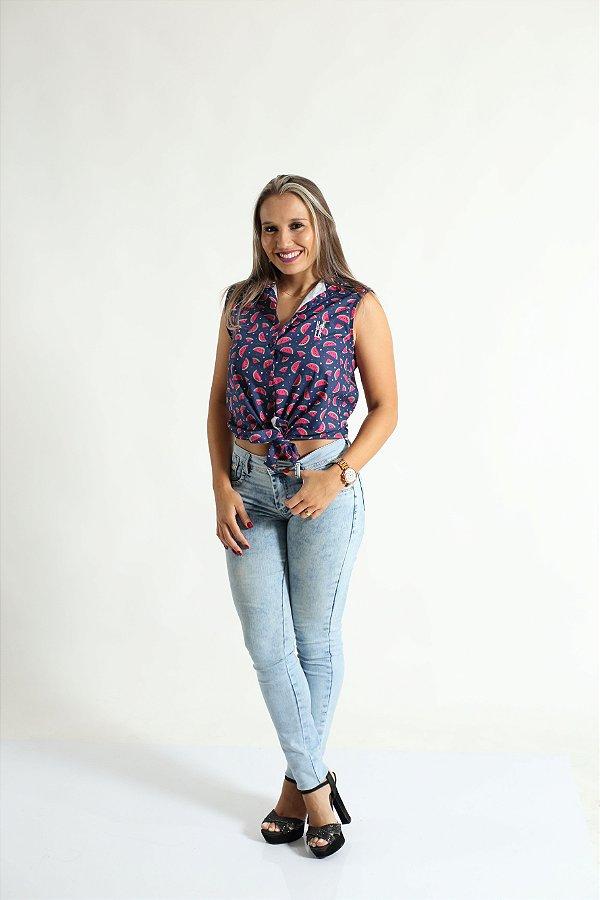Camisa Social Sem Manga Melancia Feminina Adulta