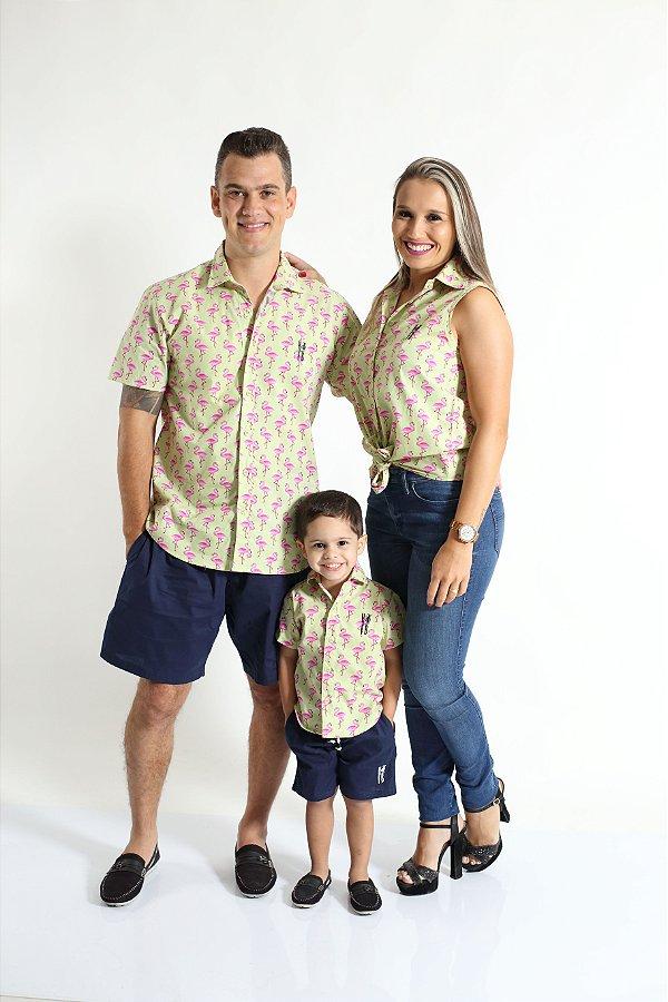PAIS E FILHOS > Kit 3 peças Camisas Social Flamingo [Coleção Família]