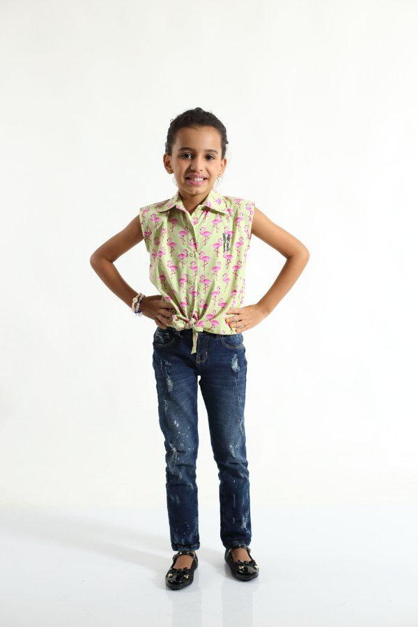 Camisa Social Sem Manga Flamingos Feminina Infantil
