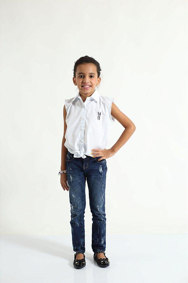 Camisa Social Sem Manga Branca Feminina Infantil