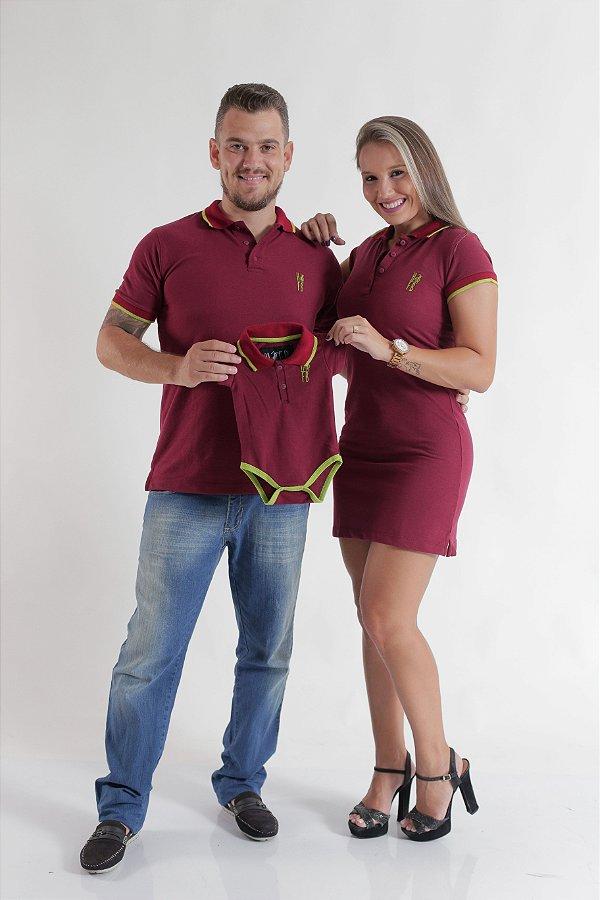 PAIS E FILHOS > Kit 3 peças Camisa + Vestido + Body Polo Bordo [Coleção Família]