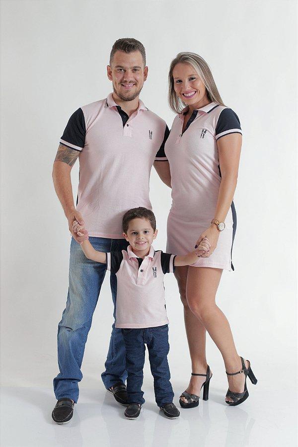 PAIS E FILHOS > Kit 3 peças Camisas e Vestido Polo Rosa com Azul Marinho [Coleção Família]