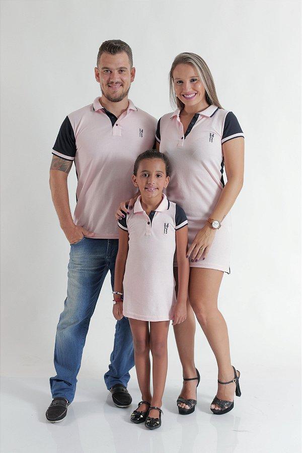 PAIS E FILHOS > Kit 3 peças Camisa e Vestidos Polo Rosa com Azul Marinho [Coleção Família]