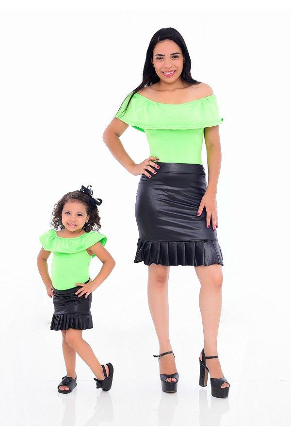 Mãe e Filha > Kit 02 Bodys Femininos Neon Verde  [Coleção Tal Mãe Tal Filha]