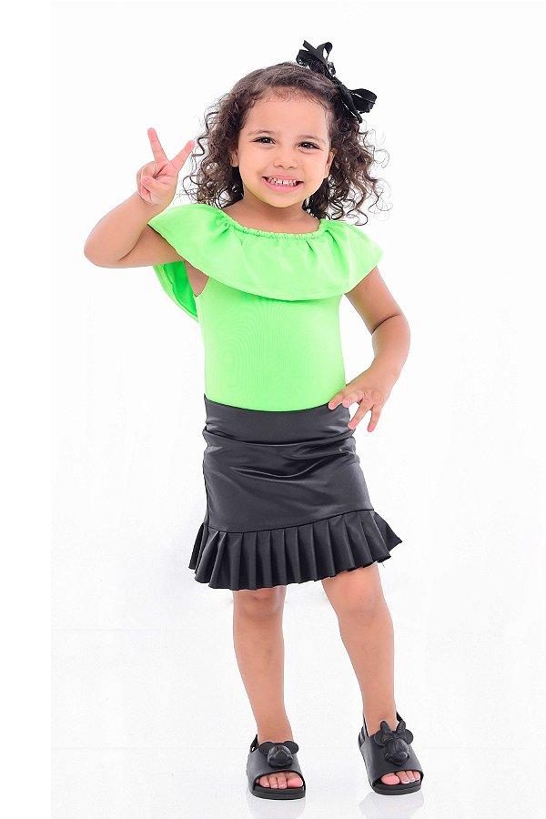 Body Feminino Infantil Neon Verde