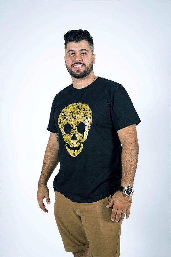 Camiseta Caveira Dourada