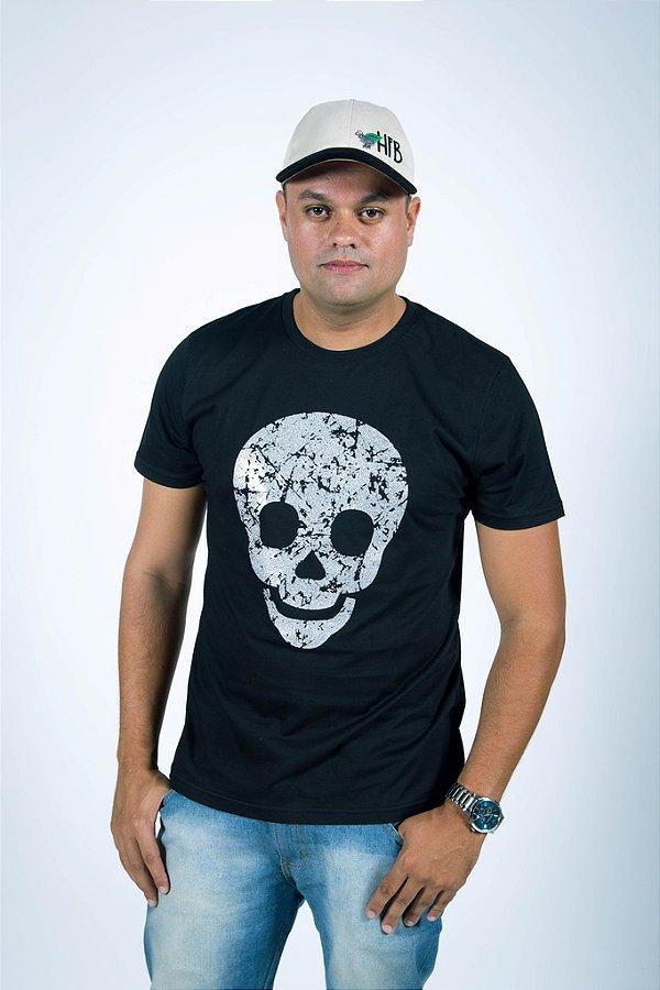 Camiseta Caveira Prateada Masculina