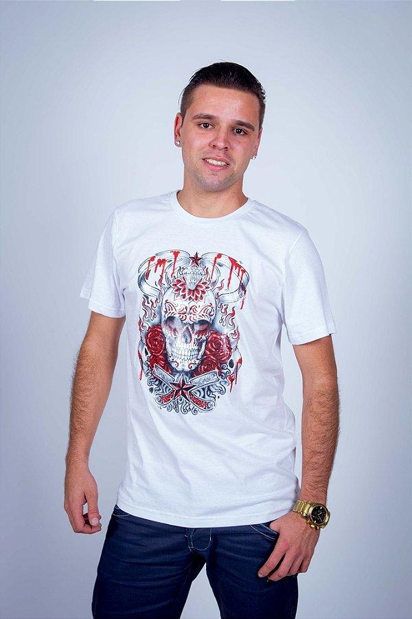 Camiseta Caveira Mexicana Diamante e Estrela
