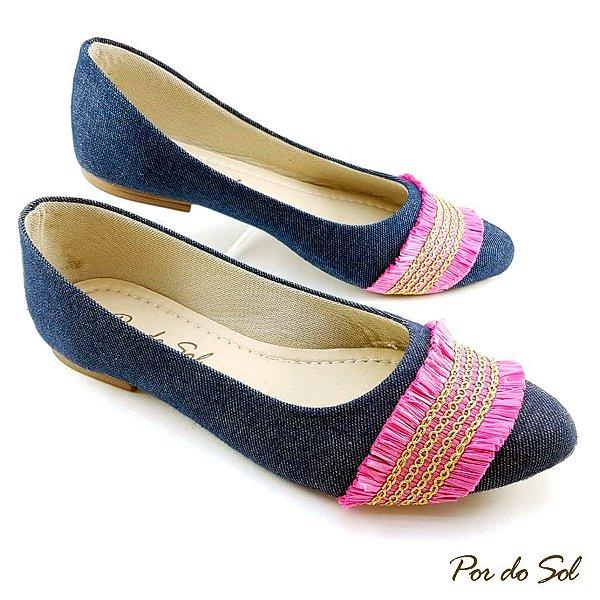 Sapatilha Jeans com Tira Rosa Pink - C20-984