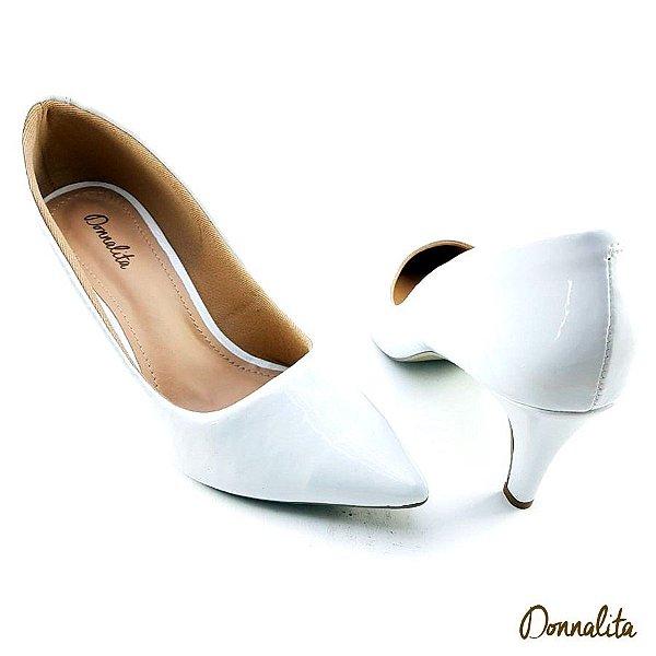 Scarpin com 5 cm cor Branco e Verniz - E36-145