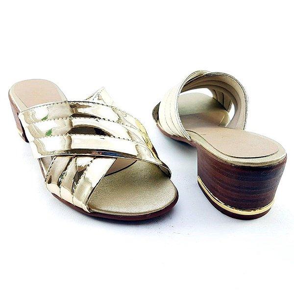 Sandália Salto Baixo Tiras Trançadas Douradas Espelhadas Salto Amadeirado - C25-222