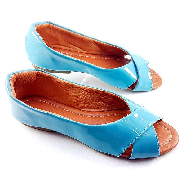 Sapatilha Peep Azul Menta Trançada - E07-0829