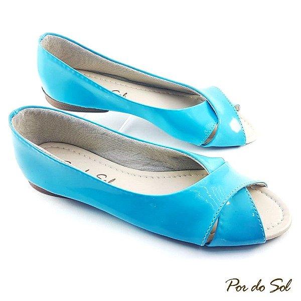 Peep Toe Azul Menta Trançada em Verniz - C14-1048