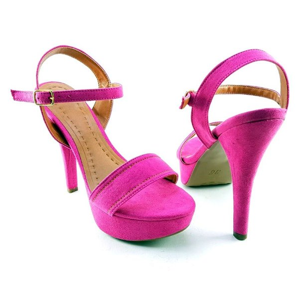 Sandália Meia Pata cor Pink em Nobuck e Salto Fino Alto - C34-242