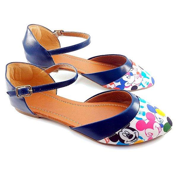 Salomé Fechada Tecido com Estampa Mickey e Napa Azul Marinho - E26-1275