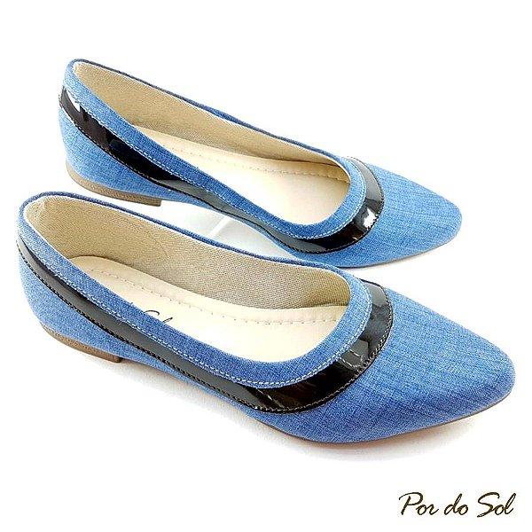 Sapatilha Jeans Claro com detalhe em Verniz Preto - B23-1513
