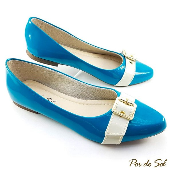1b555a746d Sapatilha Azul Tyfany em Verniz Tira Bege e Fivela - LalaShoes ...