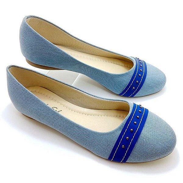 Sapatilha Jeans Claro com Tira Azul Marinho - C11-1621