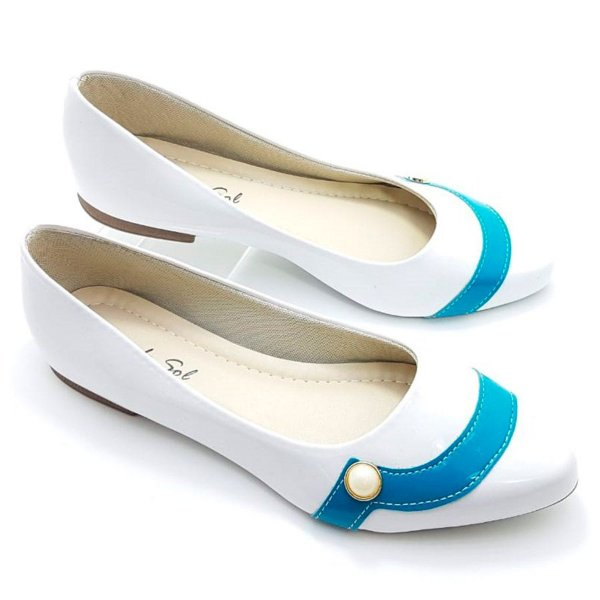 Sapatilha Branca Verniz Tira Azul e Pérola - E40-1648