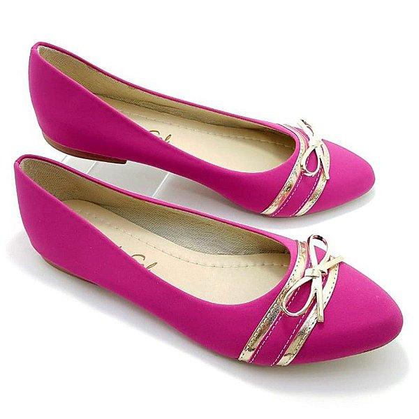 Sapatilha Pink em Nobuck Tiras e Laço Dourados - SP1696