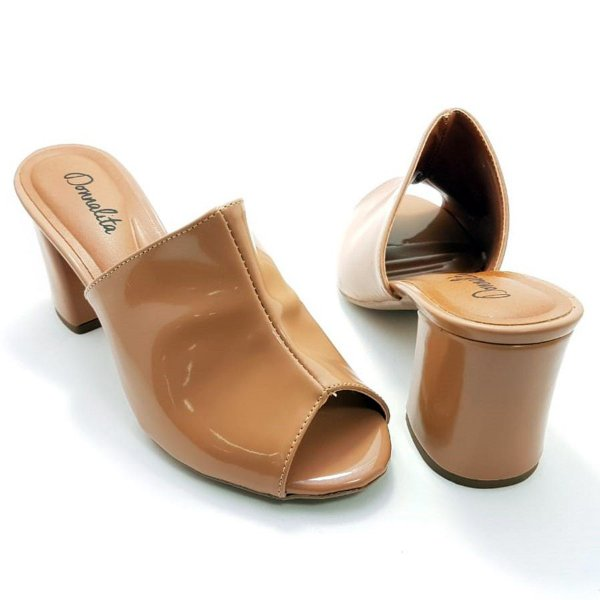 Mule Nude Rosê e Verniz Salto Bloco 7cm - E25-280