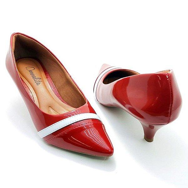 Scarpin Vermelho em Verniz Tira Branca Salto 3cm - E25-284