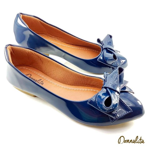 Sapatilha Azul Marinho Verniz Laço Princesa - E27-1731