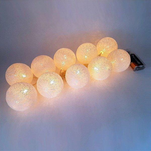 Fio de Luz com 10 Bolinhas Revestidas de Fio Branco - P0152