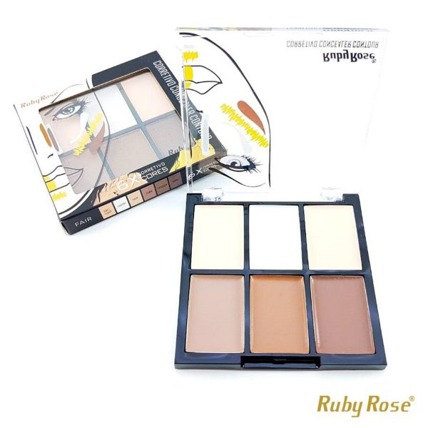 Corretivo Facial Ruby Rose com 6 Cores - Fair - P0171