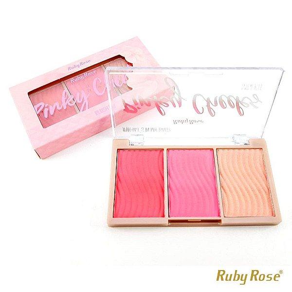 Paleta de Blush Pinky Cheeks Ruby Rose - P0172