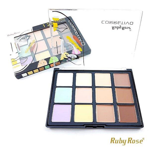 Corretivo Facial Ruby Rose com 12 Cores - COR 1 - P0177