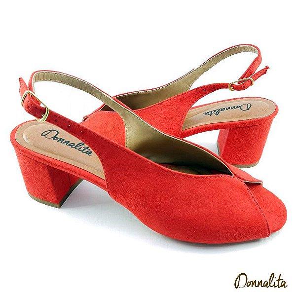 Sandália em tecido Suede Vermelho Salto Bloco - C23-305