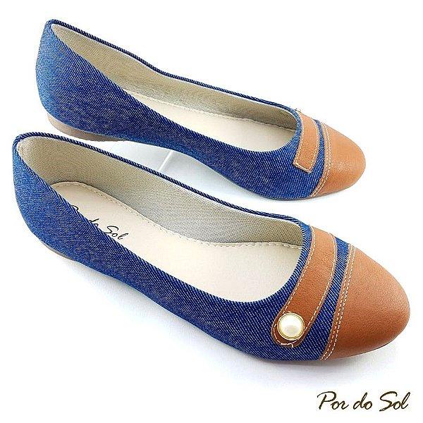 Sapatilha Jeans Detalhe Conhaque e Pérola - SP1872