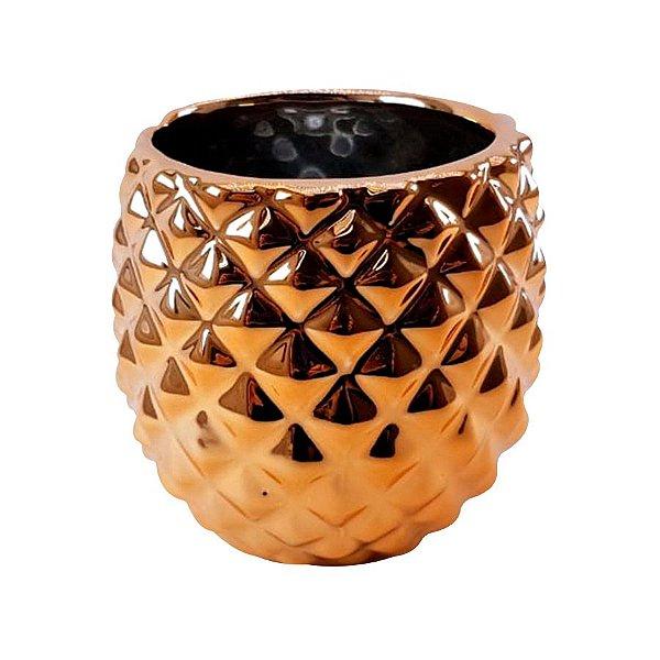 Cachepô Abacaxi Cromado - Rosê Gold - P0199