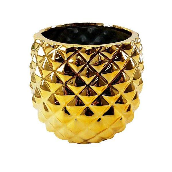 Cachepô Abacaxi Cromado - Dourado - P0200